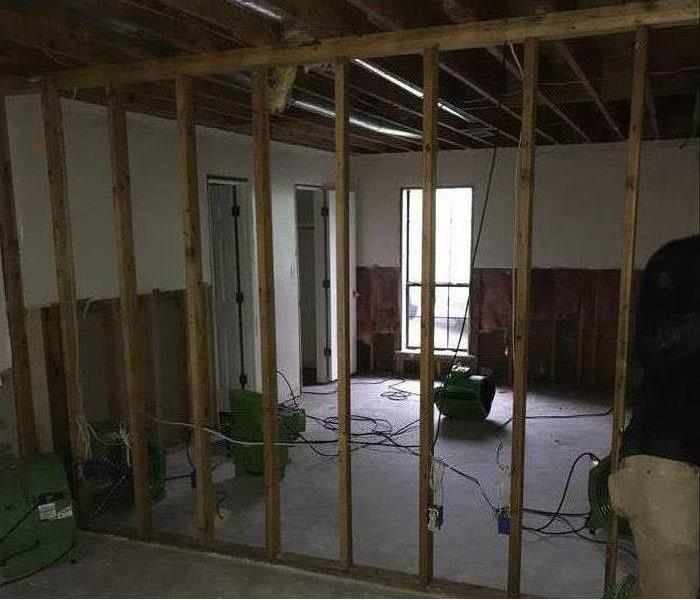 demoed room with studs showing