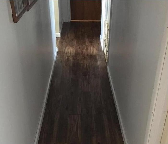 hallway with water damage